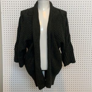 Long thick knit charcoal  cardigan